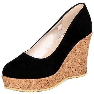 e5f776ef3660dc Zanpa Damen Schuhe mit Absatz Keilabsatz Pumps Wood Look Soles Black Gr 34