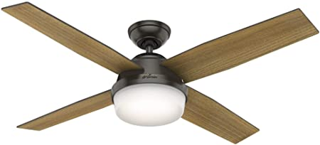 Hunter Fan Company 59446 52 Dempsey Ceiling Fan with Light with Handheld Remote, Large, Noble Bronze