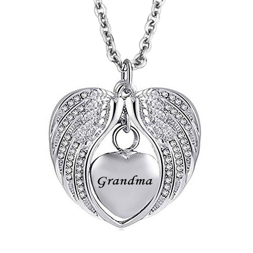 JewelryJo Urn Necklace for Ashes Cremation Keepsake Love Heart Angel Wings Crystal Pendant for Grandma