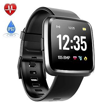Montre Connectée Cardiofréquencemètre, Hommie Bracelet Connecté Podomètre GPS Fitness Tracker dActivité Tension Artérielle Oxymètre Smartwatch Sport ...