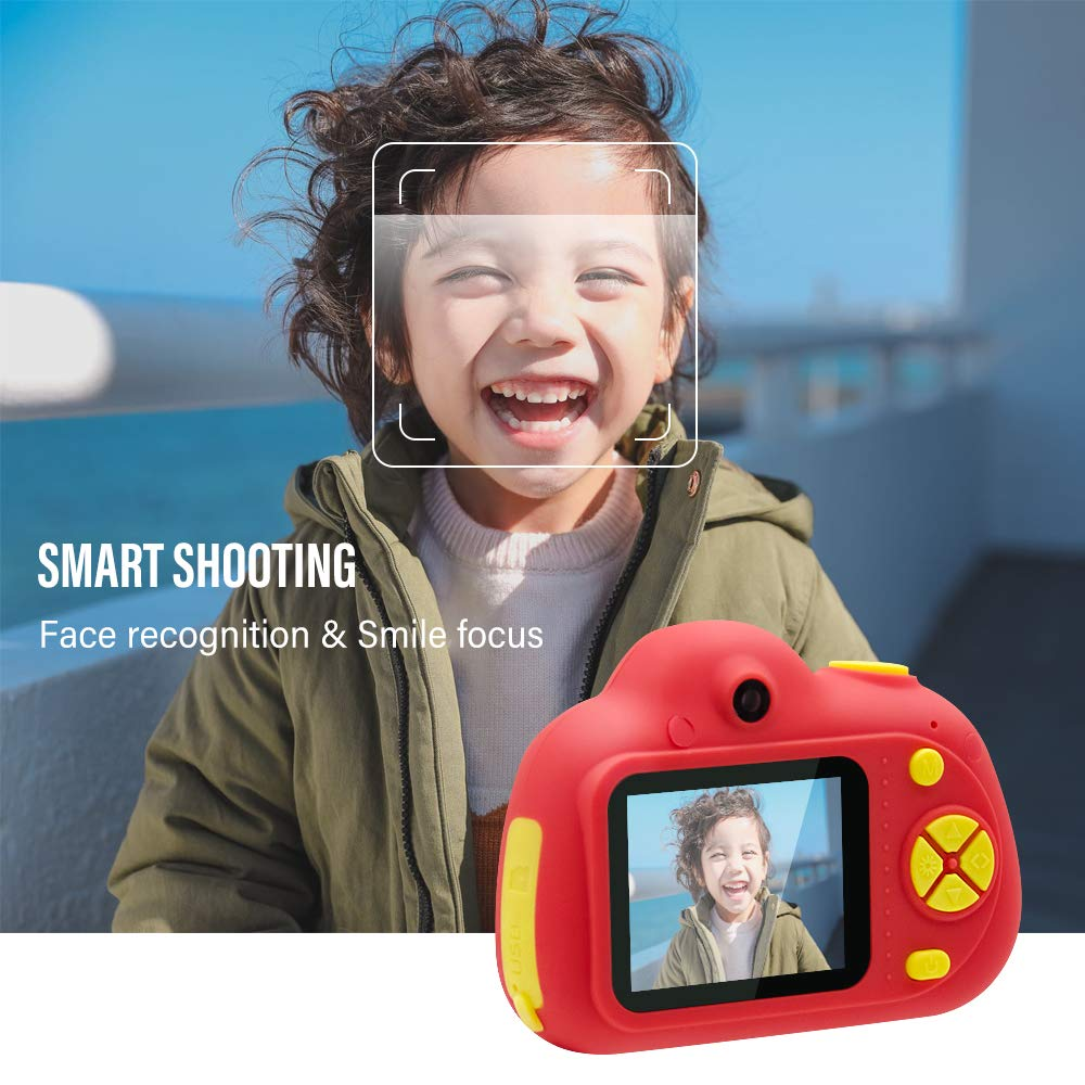 [16GB Memory Card Included] Veroyi Kids Camera 8.0MP Rechargeable Digital Front and Rear Selfie Camera Child Camcorder, Toys Gift for 4-10 Years Old Boys and Girls (Red) by Veroyi (Image #4)