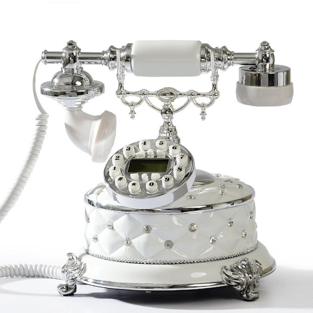 Antique Telephone Home Landline Fashion Retro Phone Old Fashioned with Push Button dial-White Perfect Home Byen059