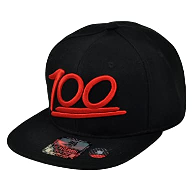 100 One Hundred Emoji Emoticons Text Symbol Flat Bill Snapback Black