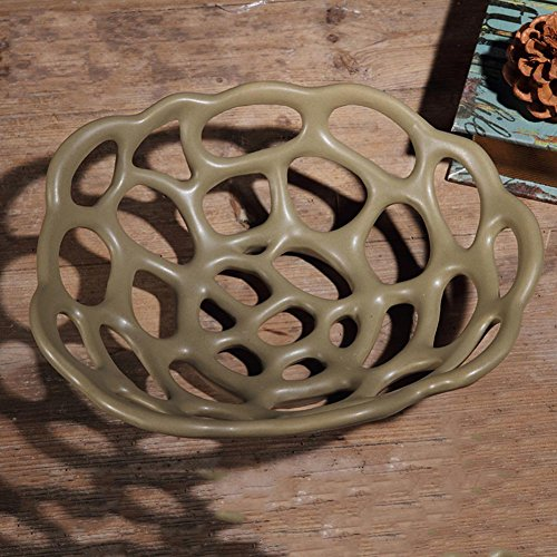 Pierced Fruit Bowl - LIUYUN Creative,Living Ceramic Fruit Bowl Coffee Table Ornaments Household Pierced Fruit Plates-B