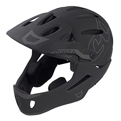 CATLIKE Forza Bike Helmet with Chin Protection, Black, Large