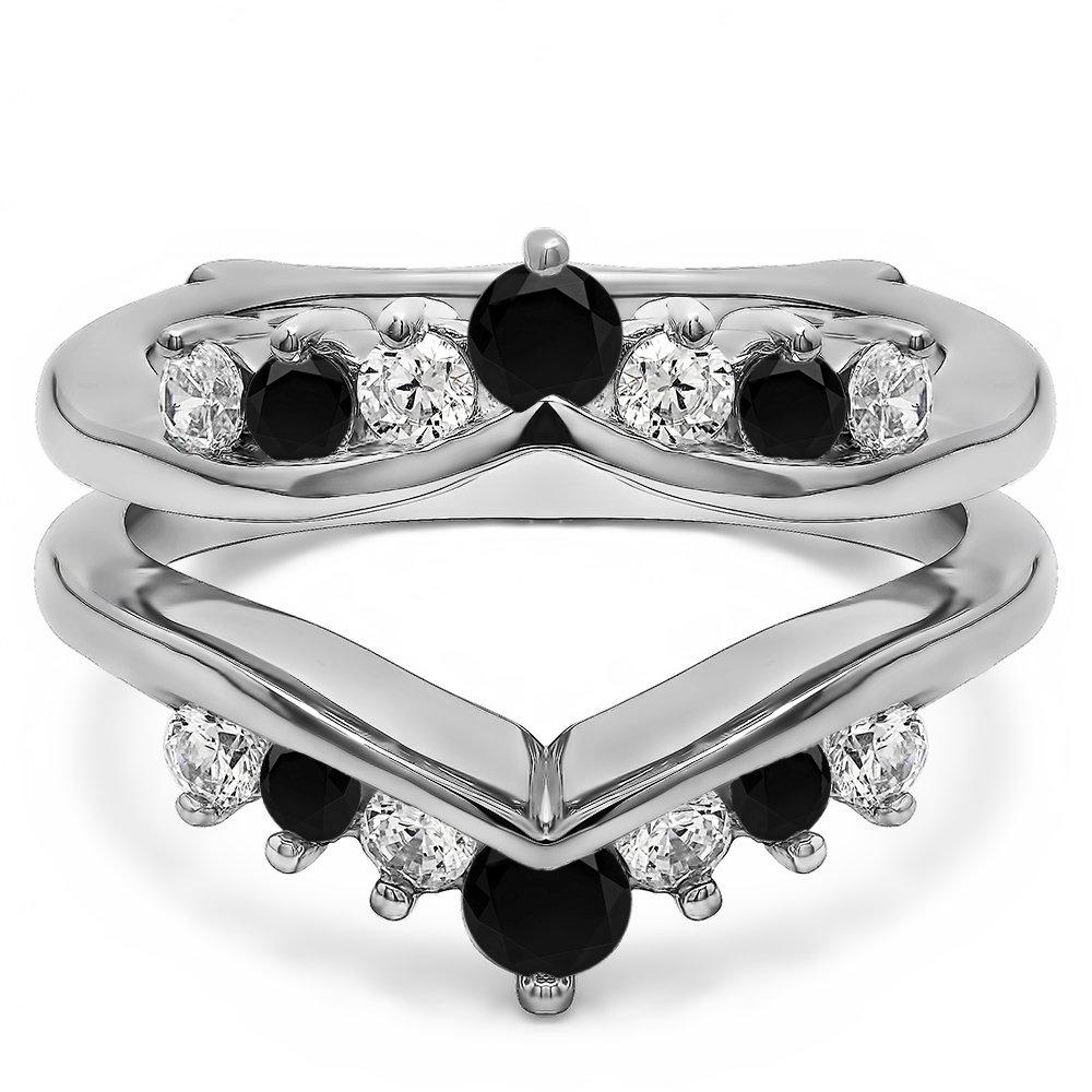 0.25 ct. Black White Diamonds G,I2 Gorgeous Chevron Ring Guard Enhancer in Sterling Silver (1/4 ct. twt.)