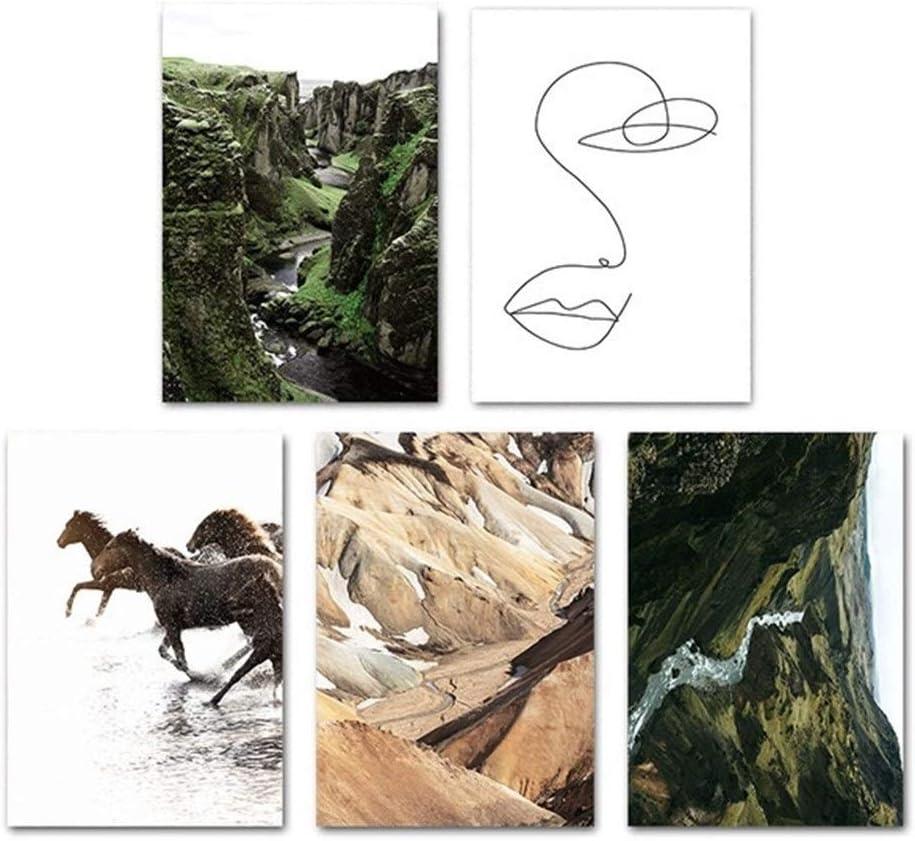 BLTR Divertido Lona impresión del Cartel de la Colina del Caballo río Naturaleza Arte de la Pared del Paisaje Cuadro de la Pintura del Estilo de la decoración de la Sala de Estar Huellas Dactilares