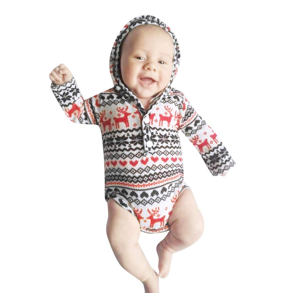 LHWY Infant Baby Boys Christmas Hoodie Romper Bodysuit Sweatshirt Onesie Geometric Kids Xmas Jumpers Clothes
