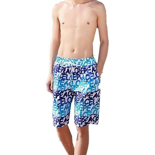 58cad00127 BININBOX Men's Beach Board Shorts Swim Trunk Surf Casual Wear Multi Pattern  (L, Blue