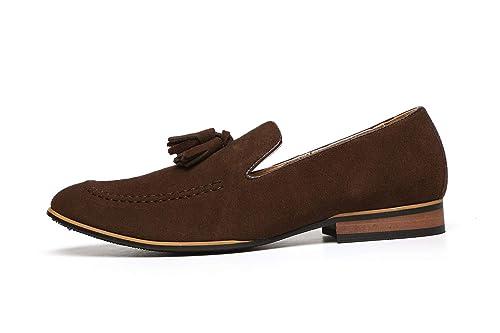 Hombre Gamuza Zapatos De Diseño Inteligentes Vestido Sin Cierres Borla Mocasines De Vestir Casual Size UK: Amazon.es: Zapatos y complementos