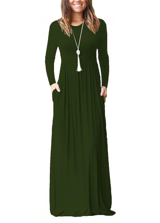 TALLA S. Dasbayla - Vestido - Trapecio - Manga Larga - para Mujer Ejercito Verde S