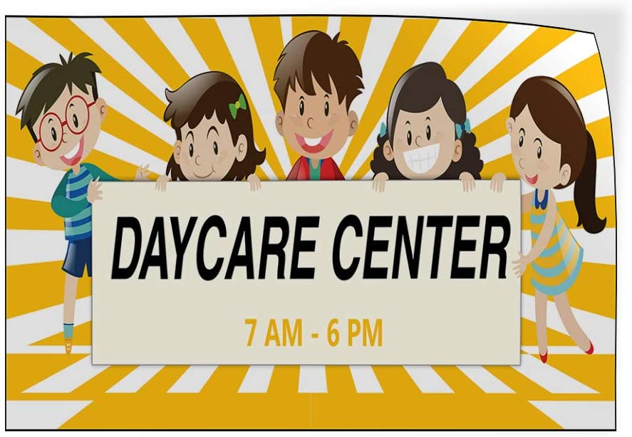 Custom Door Decals Vinyl Stickers Multiple Sizes Daycare Center Times Education Daycare Center Outdoor Luggage /& Bumper Stickers for Cars Yellow 24X16Inches Set of 10