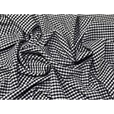 Houndstooth Polyester, Viscose & Spandex Stretch Suiting Dress Fabric Black & White - per metre