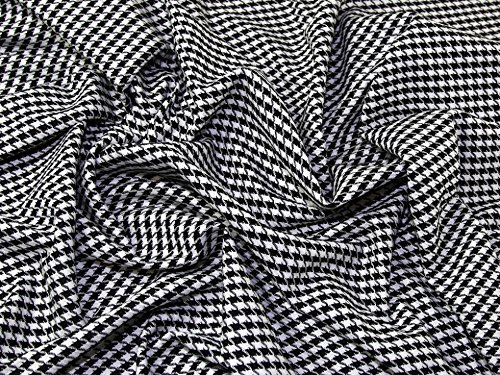 Houndstooth Polyester, Viscose & Spandex Stretch Suiting Dress Fabric Black & White - per metre ()