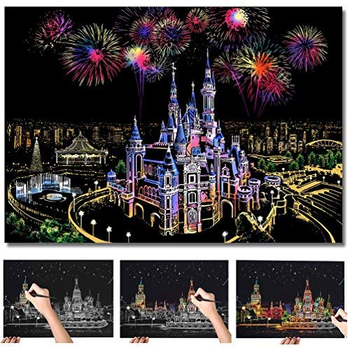 (C-pop Scratch Art Paper DIY Night View Scratchboard for Adult and Kids,Four Series Size 11.2''x16''-Castle)