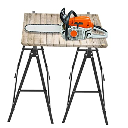 Peachy Folding Sawhorse 2Pcs Metal Log Cutting Sawhorse Beatyapartments Chair Design Images Beatyapartmentscom