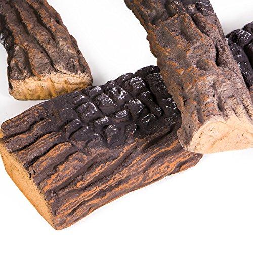 Barton Fireplace Decoration Petite Ceramic Wood, Gas Fireplace Log Set, 10 Piece by Barton (Image #3)