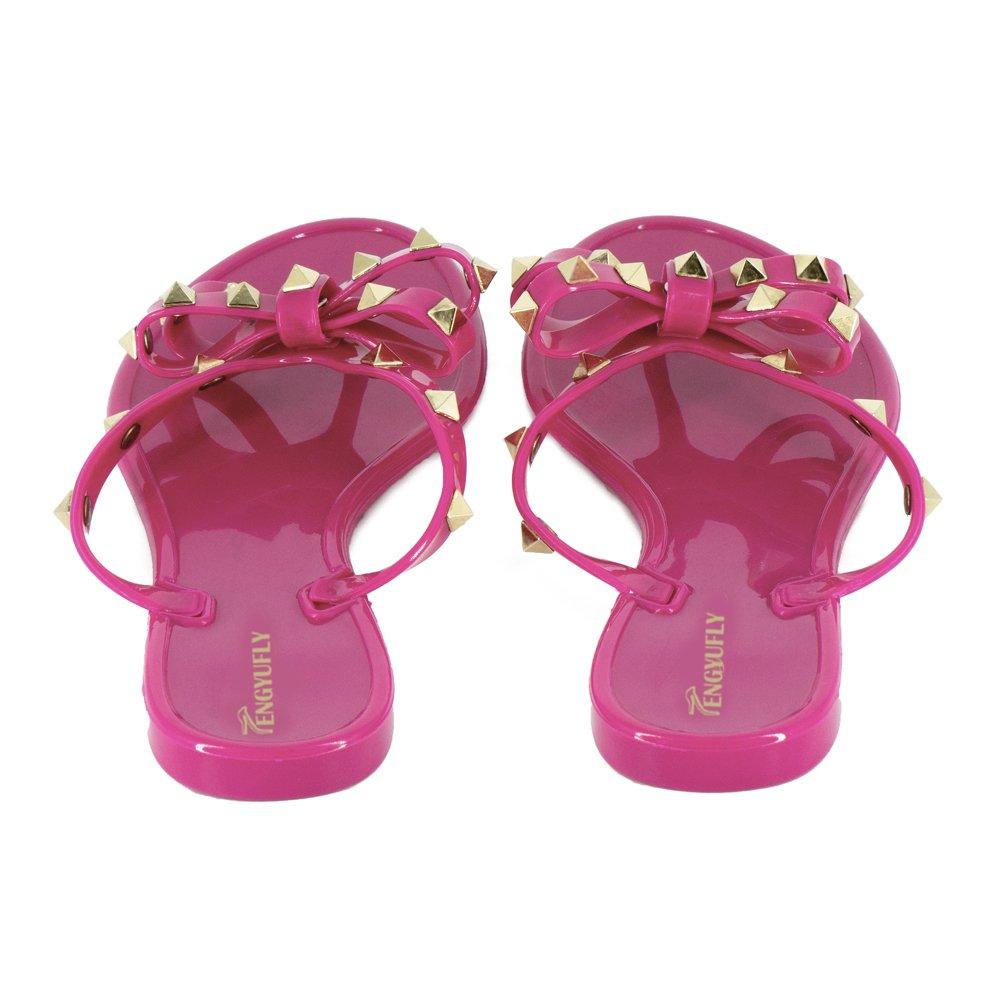3753aced3 Tengyufly Womens Rivets Bowtie Flip Flops Jelly Thong Sandal Rubber Flat  Summer Beach Rain Shoes opeim01