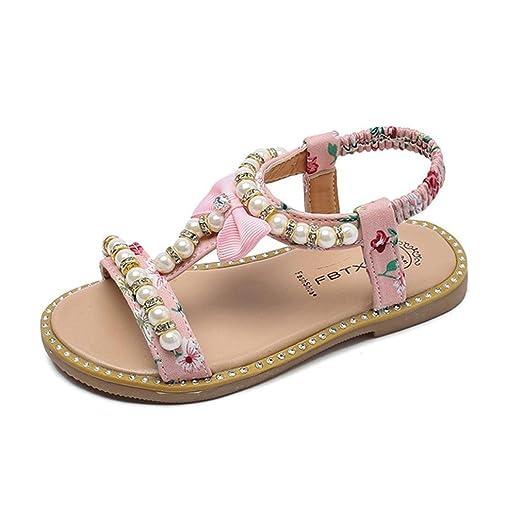 6bbf8985c Sandalias para bebés Xinantime Sandalias Romanas de Cristal Bowknot con  Perlas Zapatos de Princesa para 0