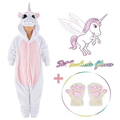 Amazon.com  Rainbow Unicorn Onesie for kids Animals Sleepwear Pajamas Pjs  with Gloves Age 2-10 Years  Clothing 82166fb62