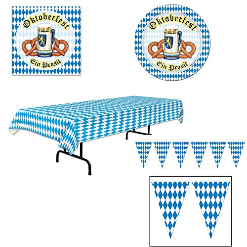 Oktoberfest Super Party Decorations 34 Piece Bundle for 16 Tablecover Plates Napkins Banner -