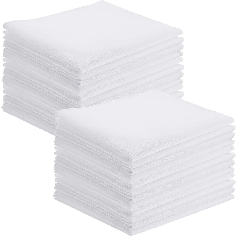 Leinuosen 24 Pieces White Cotton Handkerchiefs, Classic Men Pocket Squares, Soft Hankies