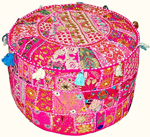 Indian Vintage Patchwork Ottoman Pouf  Indian Living Room Pouf Foot Stool Round Ottoman Cover Pouf Floor Pillow Ottoman PoofTraditional Indian Home Decor Cotton Cushion Ottoman Cover 13x18