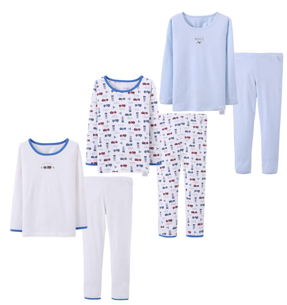 Abalacoco Big Girls Boys 3 Sets (6pcs) Cotton Longs sleeve Undershirts Autumn Winter Thermal Underwear Pants Suit 4-10T (6-7 Years, White/Car/Blue) by Abalacoco