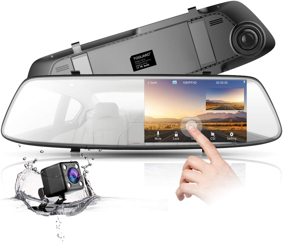 4.3/'/' HD 1080P Dual Lens DVR Mirror Dash Cam Recorder with Car Rear View Camera