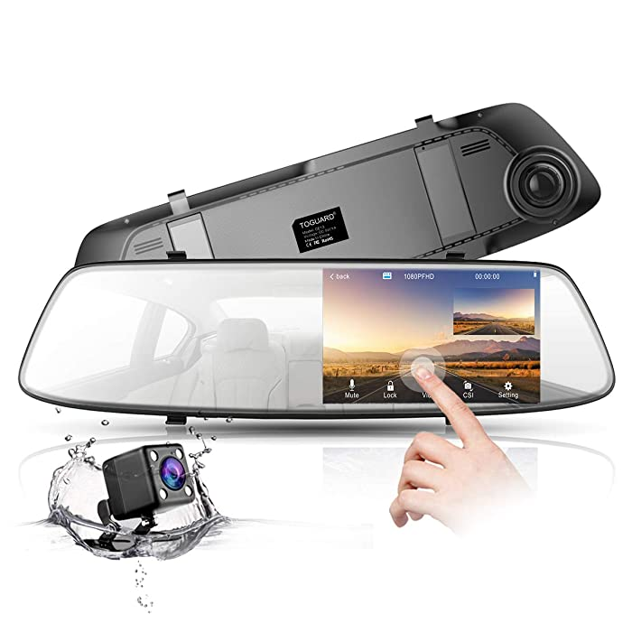 """Backup Camera 4.3"""" Mirror Dash Cam 1080P TOGUARD Touch Screen Front and Rear Dual Lens Car Camera with Parking Assistance G-Sensor,Waterproof Rear View Revers Camera CN"""