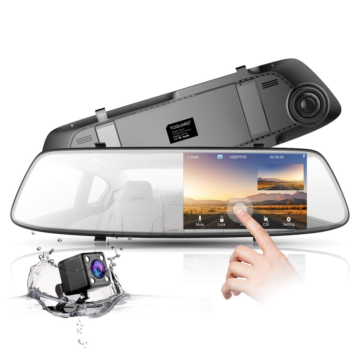 Backup Camera 4.3'' Mirror Dash Cam 1080P TOGUARD Touch Screen Front and Rear Dual Lens Car Camera with Parking Assistance G-Sensor,Waterproof Rear View Revers Camera CN