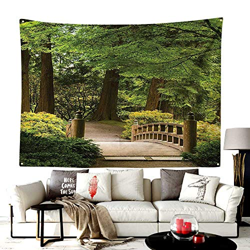 Custom Pattern Pug Wave Tapestry,Wooden Bridge Over A Pond in Garden Calmness in Shadow of Trees Serenity in Nature,Headboard Wall Hanging Home Decor,40W X 30L Inches Green ()