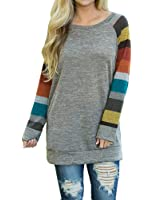 POSESHE Women's Cotton Knitted Long Sleeve Lightweight Tunic Sweatshirt Tops