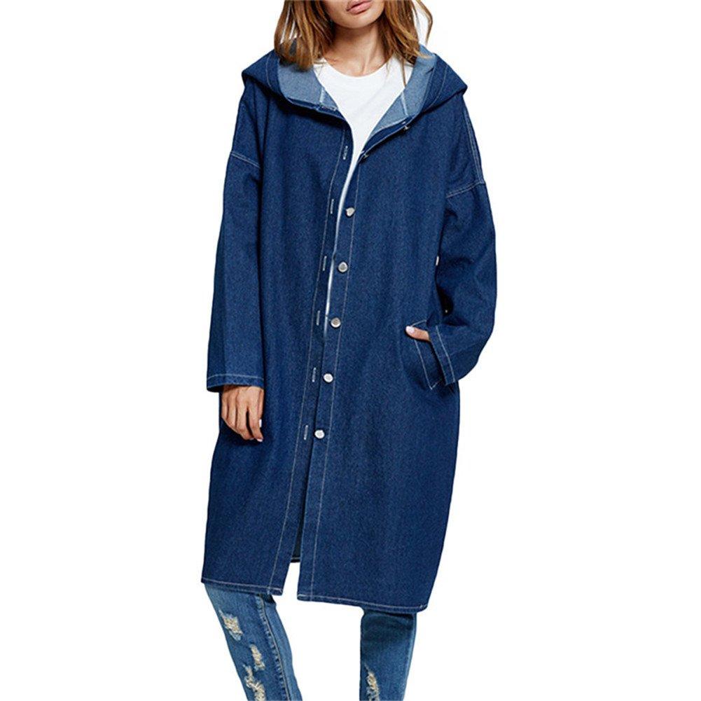 XZmy Women's Casual Lapel Slim Long Sleeve Denim Outercoat Jacket Windbreaker (Dark Blue, One Size) by XZmy