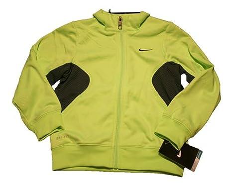 3813ff599d40 Amazon.com  Nike Boys Full Zip Dri-Fit Track Jacket (Child Size 4)  Lime Dark Gray 860354-162  Clothing
