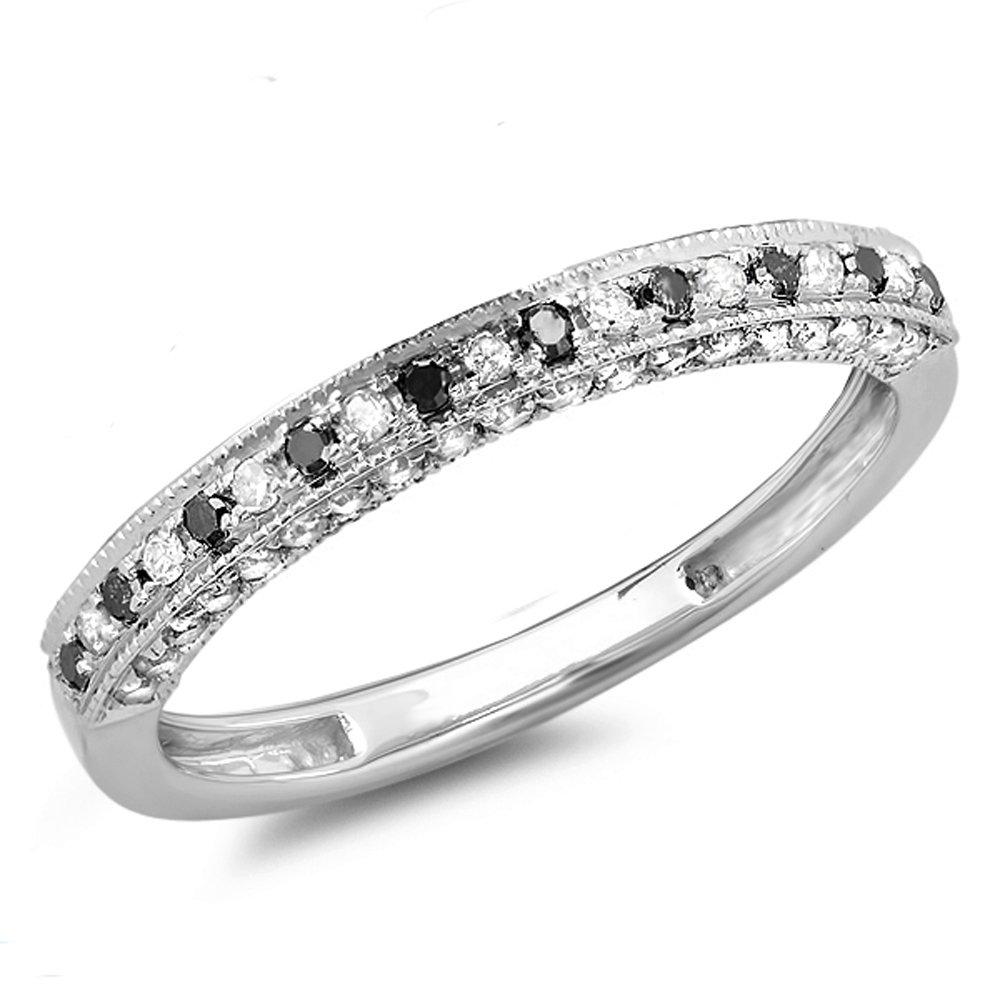 0.40 Carat (ctw) 18K White Gold Round Black & White Diamond Anniversary Wedding Band (Size 9.5)