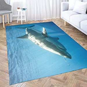Christmas Area Rugs,Shorping 3X5 Area Rug Ski Area Rug Cage Diving with Great White Sharks in Mexico Guadalupe Abstract Area Rugs,Floor Mats for Home Bedroom Carpets, Pink Pink
