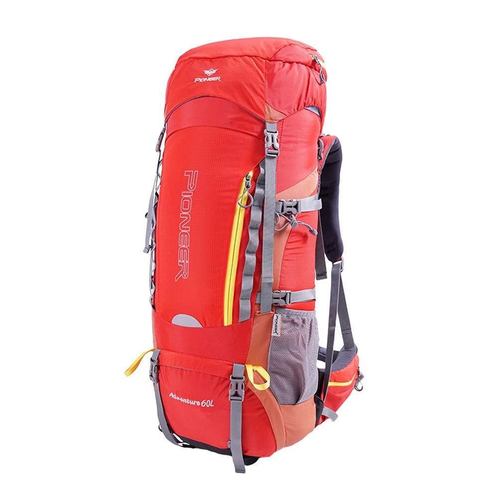 LIUX 60L en Plein Air Alpinisme Sac Hommes Et Femmes Voyage Sac à Dos Randonnée Camping Voyage Tourisme Multi-Fonction Sports étanche Résistant à l'usure éclaircissant Loisirs Voyage Sac rouge -