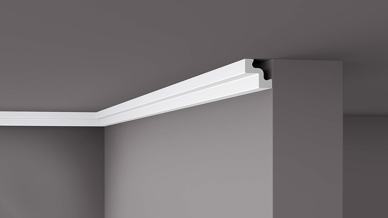 Cornisa//Moldura decorativa techo blanca NMC NOMASTYL/® ST2 50X50X2000mm Poliestireno 10 metros