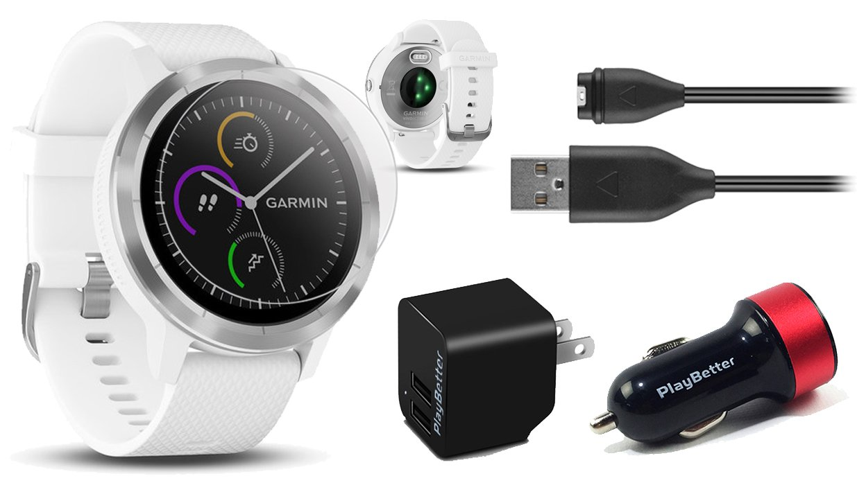 Garmin vivoactive 3 (White/Stainless) Power Bundle with HD Glass Screen Protectors (x2), PlayBetter USB Wall & Car Charging Adapters | Multisport GPS Smartwatch, Touchscreen, On-Wrist HR, Garmin Pay