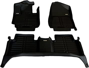 Largest Coverage Laser Measured Full Set - Black TuxMat Custom Car Floor Mats for Toyota Tundra CrewMax 2014-2021 Models All Weather Waterproof The Ultimate Winter Mats