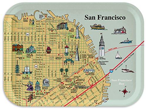 San Francisco Piers Map Tray Breakfast Tray Decorative Tray, 11