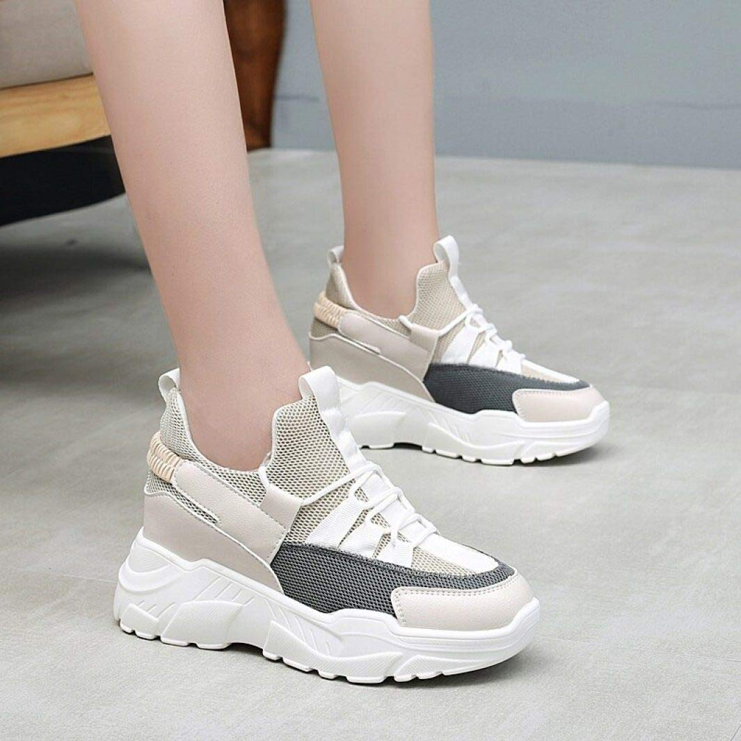 T-JULY Fashion Height Increasing Sneakers Womens Spring Casual Flat Platform Shoes Woman Lace-up Trainer Female Shoes