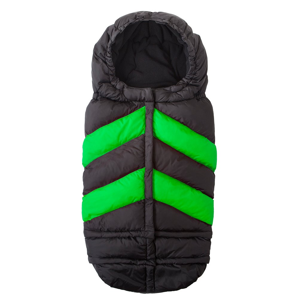 7AM Enfant Blanket 212 Chevron Extendable Baby Bunting Bag Adaptable for Strollers, Black/Neon Green