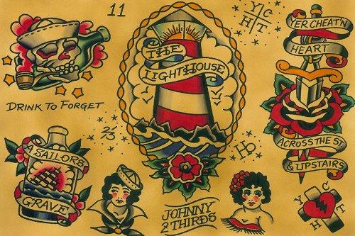 Flash by Johnny 2 Thirds Rockabilly Old School Framed Tattoo Fine Art Print (Old School Tattoo Flash)