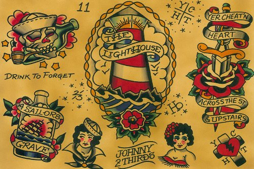 Black Market Art Flash by Johnny 2 Thirds Rockabilly Old School Tattoo Designs Fine Art Print
