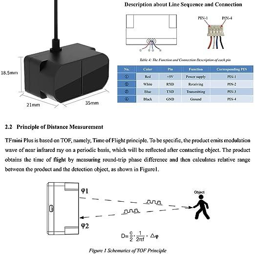 MakerFocus LiDAR Sensor Module Laser Ranging Sensor Module TFmini Plus  Version Single-Point Micro Ranging Module with 0 1-12m Measurement Range