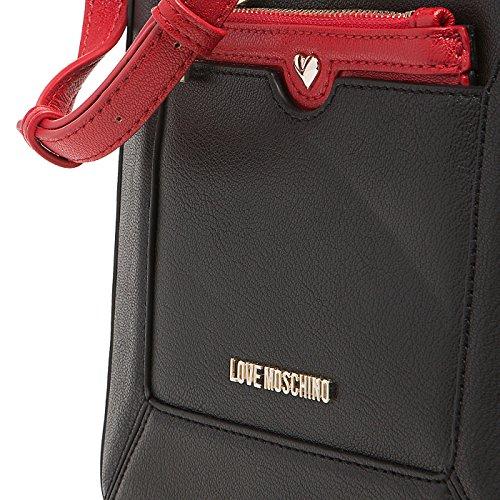 Love Moschino - Bolso cruzados para mujer negro negro/rojo
