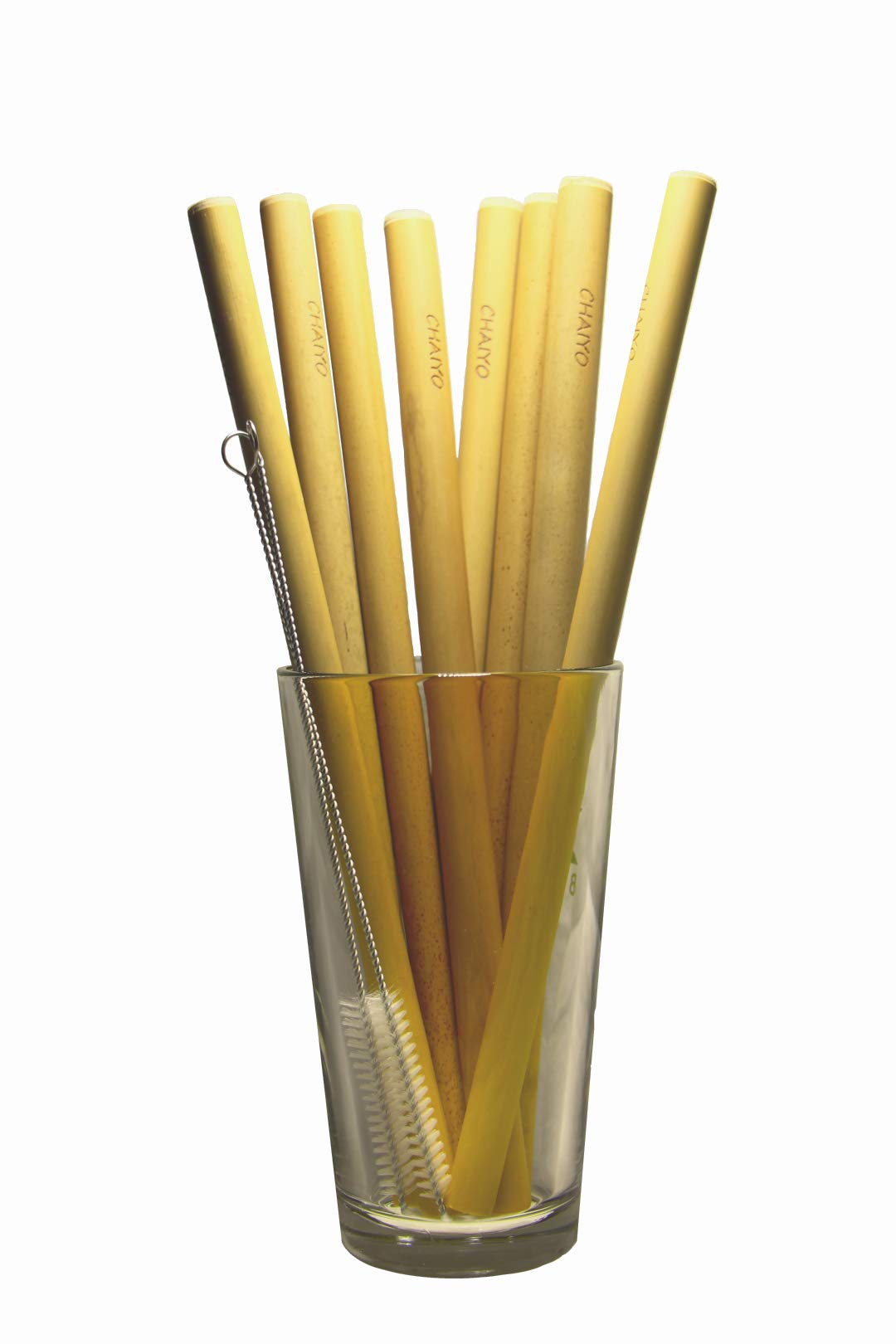 10.5'' Organic Bamboo Drinking Straws Set of 8 | Reusable | Extra Long | Wide Mouth | Carrying Bag | 2 Cleaning Brushes