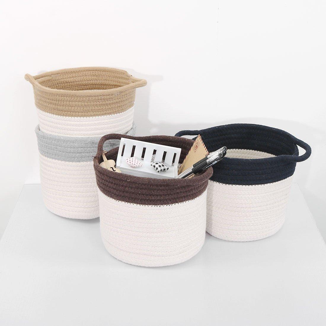 sourcingmap/® Casier rangement penderie pliable Bo/îte jouets contenant paniers corde Ton dOr ganiseur